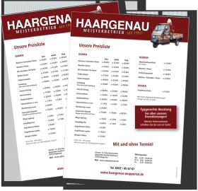 Friseur HAARGENAU Wuppertal | Bild Preisliste